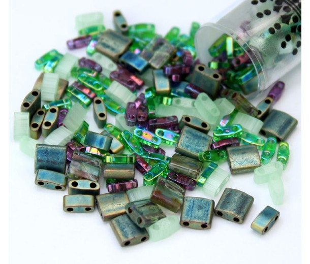 5mm Miyuki Tila Bead Shape Mix, Sherwood Forest, 7.2 Gram Tube
