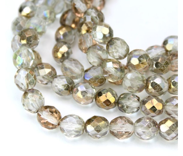 Light Apollo Copper Czech Glass Beads, 8mm Faceted Round, 7 inch Strand