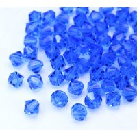 Light Sapphire Czech Crystal Beads, 6mm Faceted Bicone, Pack of 20