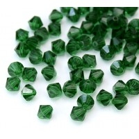 Dark Green Czech Crystal Beads, 6mm Faceted Bicone, Pack of 20