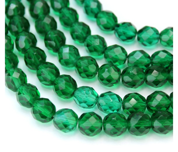 Teal Green Czech Glass Beads, 8mm Faceted Round, 7 Inch Strand