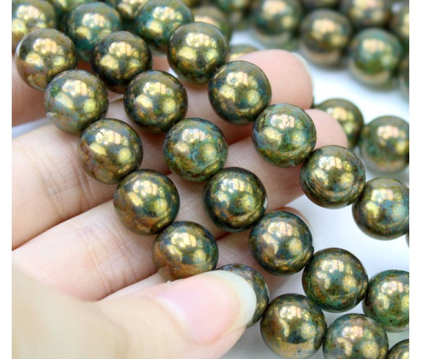 Milky Peridot Bronze Picasso Czech Glass Beads, 10mm Round