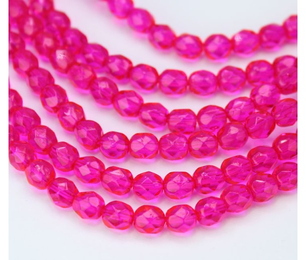 Fuchsia Czech Glass Beads, 6mm Faceted Round, 7 Inch Strand