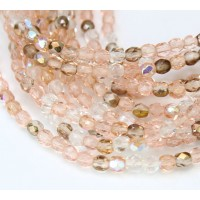 Rosebud Mix Czech Glass Beads, 4mm Faceted Round