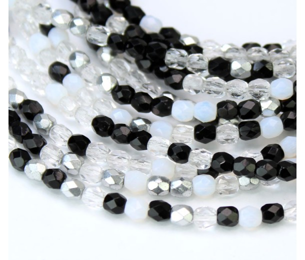 Domino Mix Czech Glass Beads, 4mm Faceted Round