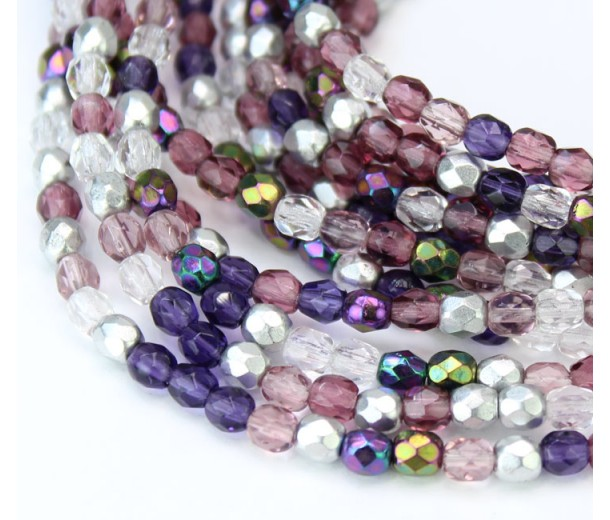 Sugar Plum Mix Czech Glass Beads, 4mm Faceted Round