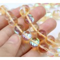 Foiled Crystal Glass Beads, Peach, 10mm Smooth Round