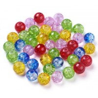 Crackle Glass Beads, Carnival Mix, 8mm Round, Pack of 50