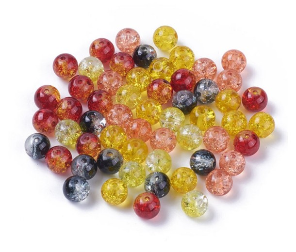 Crackle Glass Beads, Watercolor Mix, 8mm Round, Pack of 50