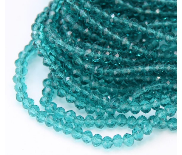 Blue Zircon Transparent Glass Beads, 4x3mm Faceted Rondelle