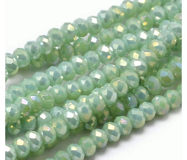Pearlized Teal AB Glass Beads, 4x3mm Faceted Rondelle