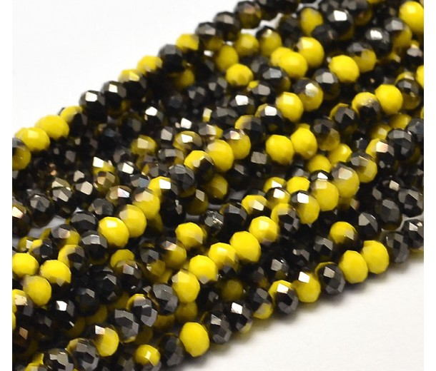 Yellow and Black Two-Tone Glass Beads, 4x3mm Faceted Rondelle