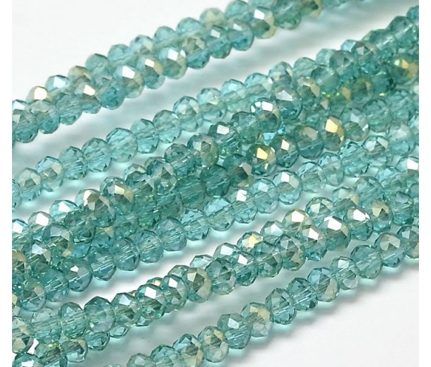 Light Teal AB Half Plated Glass Beads, 4x3mm Faceted Rondelle