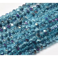 Deep Sea Blue AB Half Plated Glass Beads, 4x3mm Faceted Rondelle