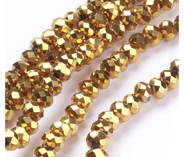 Gold Metallic Opaque Glass Beads, 4x3mm Faceted Rondelle