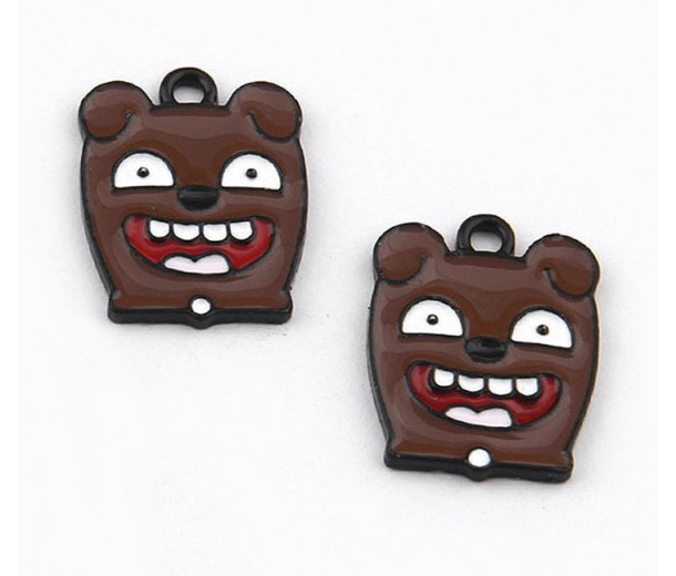 21mm Puppy Face Enamel Pendant, Brown on Gunmetal Finish, 1 Piece