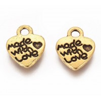 10mm Made With Love Heart Charms, Antique Gold, Pack of 10