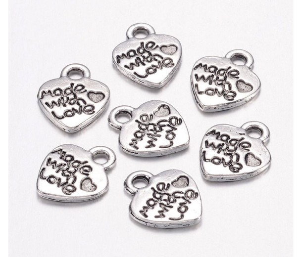 10mm Made With Love Heart Charms, Antique Silver, Pack of 10