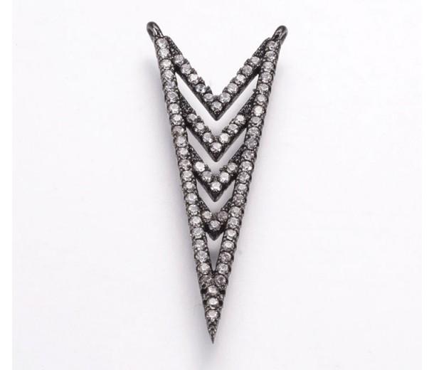 35mm Chevron Cubic Zirconia Pendant, Gunmetal Tone