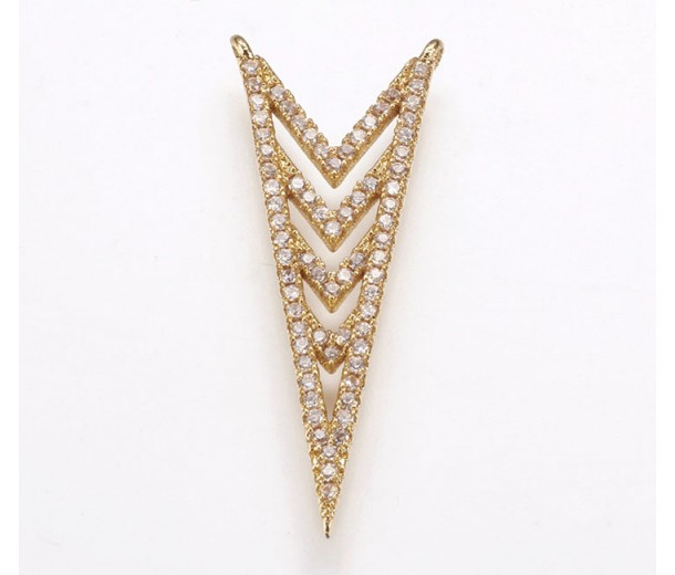 35mm Chevron Cubic Zirconia Pendant, Gold Tone