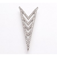 35mm Chevron Cubic Zirconia Pendant, Rhodium Plated