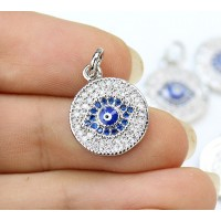 13mm Blue Evil Eye Cubic Zirconia Charm, Rhodium Plate