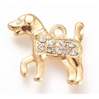 20mm Dog Rhinestone Charm, Gold Tone