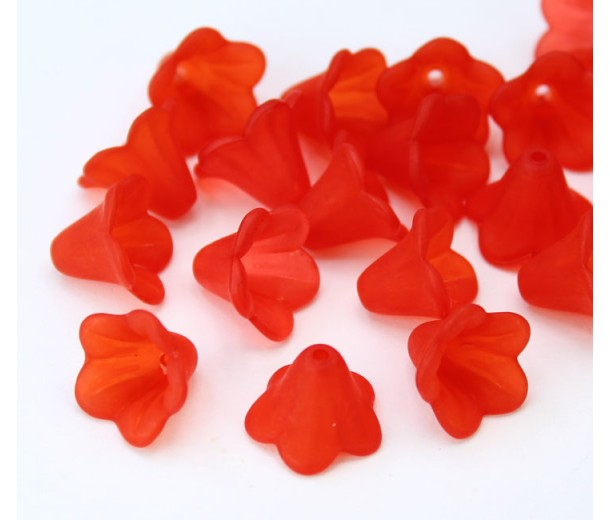 Red Lucite Flower Beads, 10x15mm Amaryllis, Pack of 20