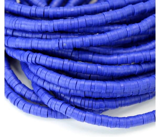Polymer Clay Beads, Cobalt Blue, 4mm Heishi Disk