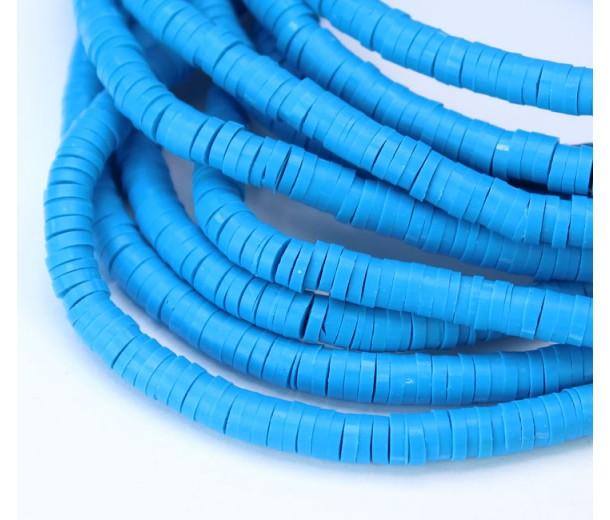Polymer Clay Beads, Sky Blue, 4mm Heishi Disk