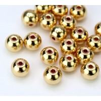 8x7mm Round Solid Brass Beads, Gold Tone, Pack of 10