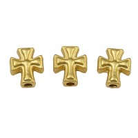 10x8mm Cross Focal Beads, Matte Gold Tone, Pack of 5