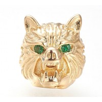 14mm Wolf Head Focal Bead with Rhinestone Eyes, Gold Tone