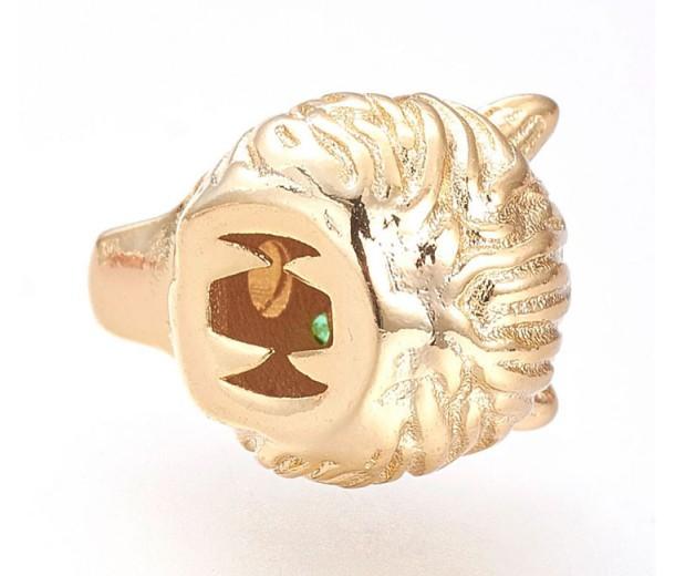 14mm Wolf Head Focal Bead with Rhinestone Eyes, Gold Tone