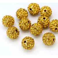 Topaz Gold Tone Rhinestone Ball Beads, 10mm Round, Pack of 5