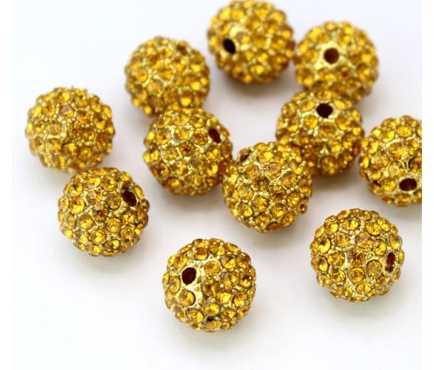 Topaz Gold Tone Rhinestone Ball Beads, 10mm Round, Pack of 5