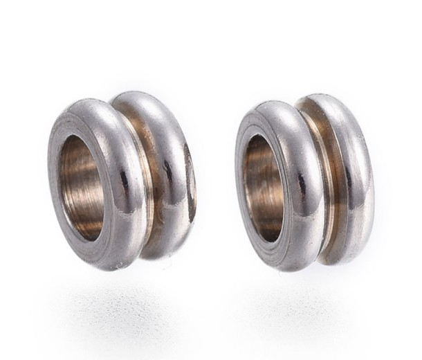 8mm Grooved Spacer Beads, Stainless Steel, Pack of 10
