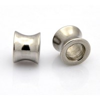 10x8mm Concave Tube Beads, Stainless Steel, Pack of 5