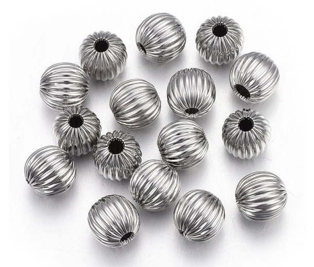 8mm Corrugated Round Beads, Stainless Steel, Pack of 10