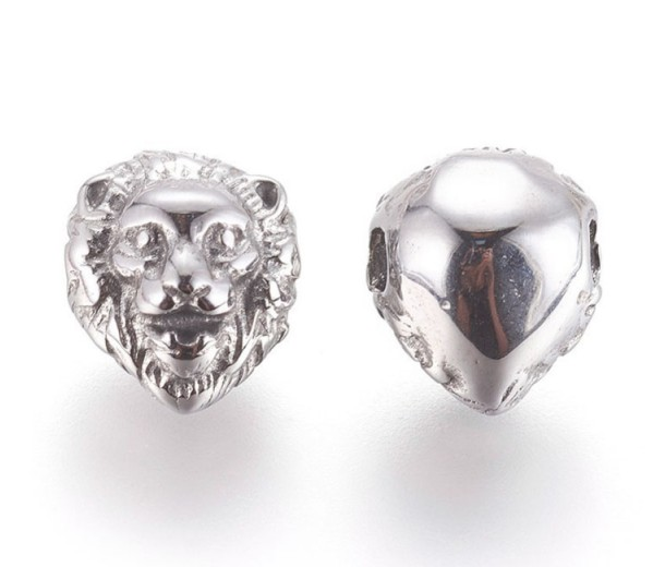 13mm Lion Head Focal Bead, Stainless Steel
