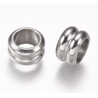 10mm Grooved Rondelle Beads, Stainless Steel, Pack of 10