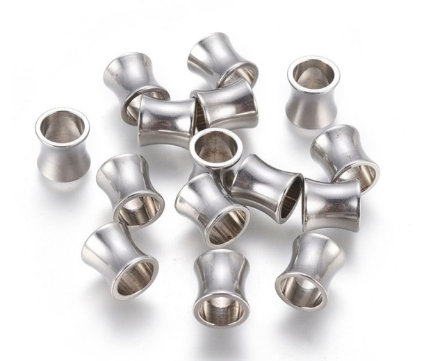 8mm Concave Tube Beads, Stainless Steel, Pack of 10