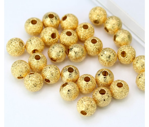 6mm Round Premium Stardust Beads, Gold Plated, Pack of 30