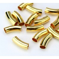 15mm Curved Smooth Tube Bead, 4mm Hole, Gold Plated
