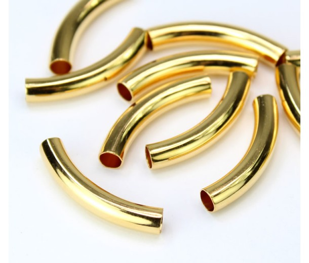 30mm Curved Smooth Tube Bead, 4mm Hole, Gold Plated
