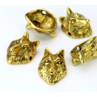 18mm Fox Head Slider Focal Beads, Antique Gold, Pack of 5