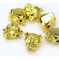12mm Tiger Head Focal Beads, Gold Tone, Pack of 5