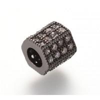 Micro Pave Cubic Zirconia Bead, Gunmetal Tone, 7x8mm Hex Tube