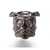 11mm Bulldog Focal Bead with Rhinestone Eyes, Gunmetal Finish