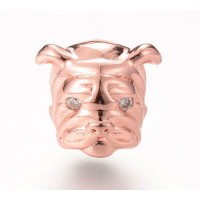 11mm Bulldog Focal Bead with Rhinestone Eyes, Rose Gold Tone